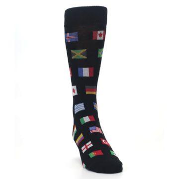 Image of Black Multi Flags of World Men's Dress Socks (side-1-front-03)