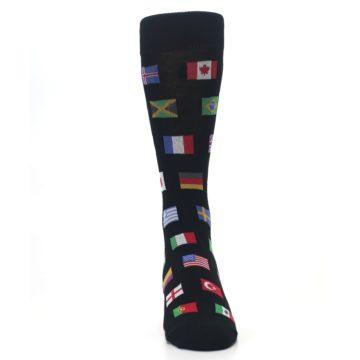 Image of Black Multi Flags of World Men's Dress Socks (front-04)