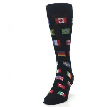 Image of Black Multi Flags of World Men's Dress Socks (side-2-front-06)