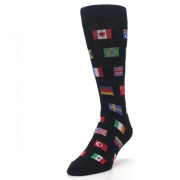 Image of Black Multi Flags of World Men's Dress Socks (side-2-front-07)
