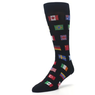 Image of Black Multi Flags of World Men's Dress Socks (side-2-front-08)