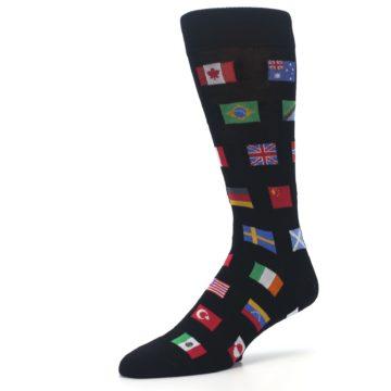 Image of Black Multi Flags of World Men's Dress Socks (side-2-09)