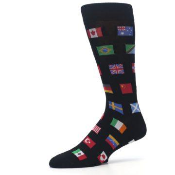 Image of Black Multi Flags of World Men's Dress Socks (side-2-10)
