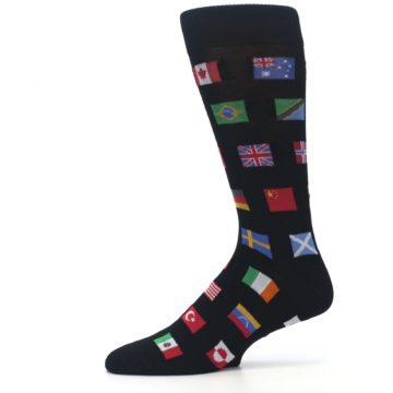 Image of Black Multi Flags of World Men's Dress Socks (side-2-11)
