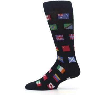 Image of Black Multi Flags of World Men's Dress Socks (side-2-12)