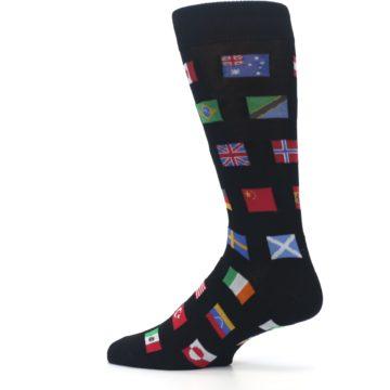 Image of Black Multi Flags of World Men's Dress Socks (side-2-13)