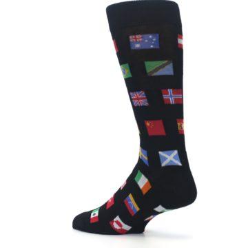 Image of Black Multi Flags of World Men's Dress Socks (side-2-back-14)