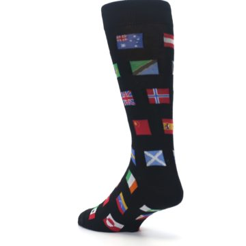 Image of Black Multi Flags of World Men's Dress Socks (side-2-back-15)