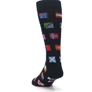Image of Black Multi Flags of World Men's Dress Socks (side-2-back-16)