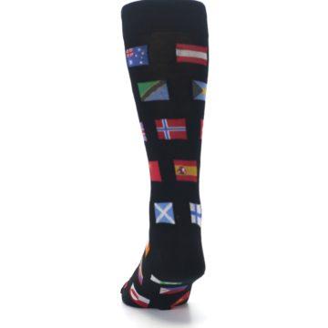 Image of Black Multi Flags of World Men's Dress Socks (back-17)
