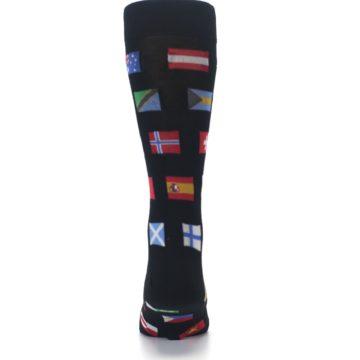 Image of Black Multi Flags of World Men's Dress Socks (back-18)