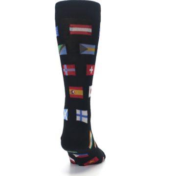 Image of Black Multi Flags of World Men's Dress Socks (back-19)