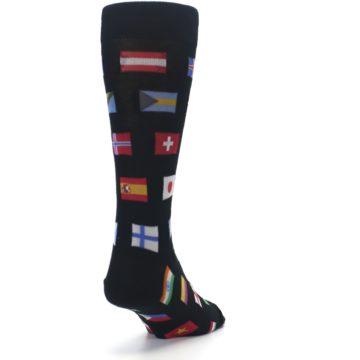 Image of Black Multi Flags of World Men's Dress Socks (side-1-back-20)