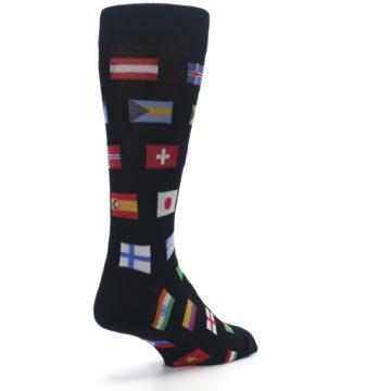 Image of Black Multi Flags of World Men's Dress Socks (side-1-back-21)