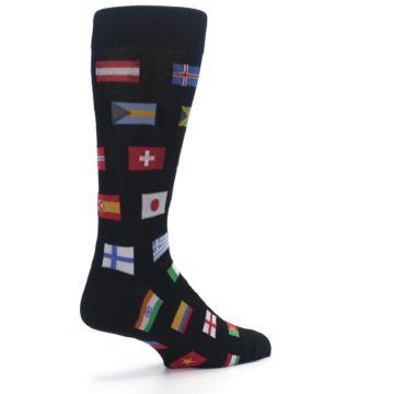 Image of Black Multi Flags of World Men's Dress Socks (side-1-back-22)