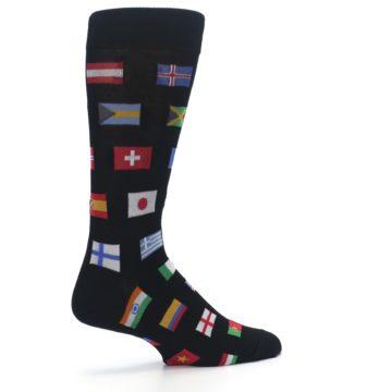 Image of Black Multi Flags of World Men's Dress Socks (side-1-23)