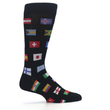 Image of Black Multi Flags of World Men's Dress Socks (side-1-24)