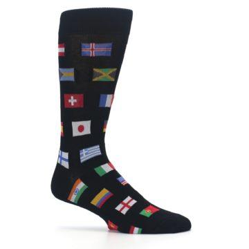 Image of Black Multi Flags of World Men's Dress Socks (side-1-25)