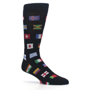 Image of Black Multi Flags of World Men's Dress Socks (side-1-26)