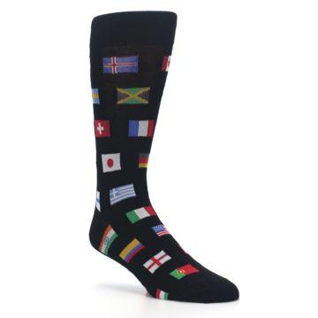Image of Black Multi Flags of World Men's Dress Socks (side-1-27)