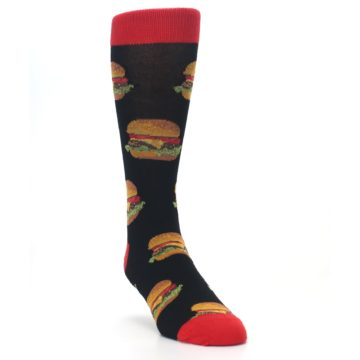 Image of Black Multi Cheese Burger Men's Dress Socks (side-1-front-02)
