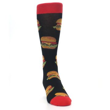 Image of Black Multi Cheese Burger Men's Dress Socks (side-1-front-03)