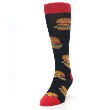 Image of Black Multi Cheese Burger Men's Dress Socks (side-2-front-06)