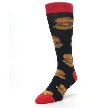 Image of Black Multi Cheese Burger Men's Dress Socks (side-2-front-07)