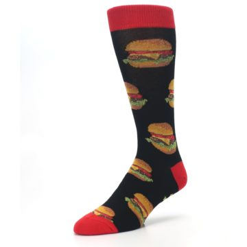 Image of Black Multi Cheese Burger Men's Dress Socks (side-2-front-08)