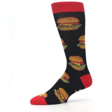 Image of Black Multi Cheese Burger Men's Dress Socks (side-2-10)