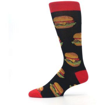 Image of Black Multi Cheese Burger Men's Dress Socks (side-2-11)