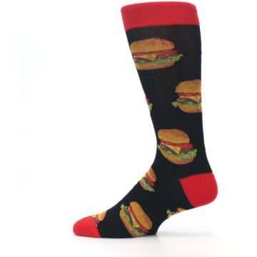 Image of Black Multi Cheese Burger Men's Dress Socks (side-2-12)