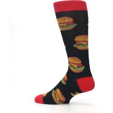 Image of Black Multi Cheese Burger Men's Dress Socks (side-2-13)
