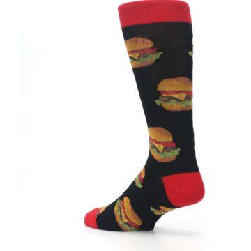Image of Black Multi Cheese Burger Men's Dress Socks (side-2-back-14)