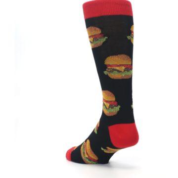Image of Black Multi Cheese Burger Men's Dress Socks (side-2-back-15)
