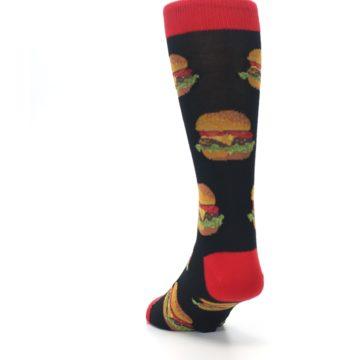Image of Black Multi Cheese Burger Men's Dress Socks (side-2-back-16)