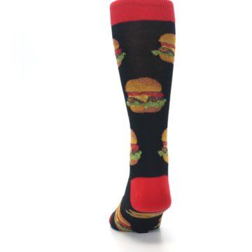 Image of Black Multi Cheese Burger Men's Dress Socks (back-17)