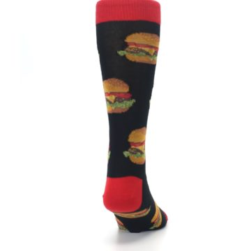 Image of Black Multi Cheese Burger Men's Dress Socks (back-19)