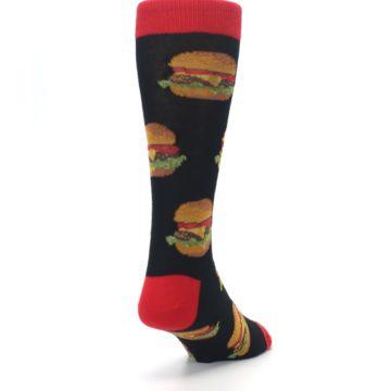 Image of Black Multi Cheese Burger Men's Dress Socks (side-1-back-20)