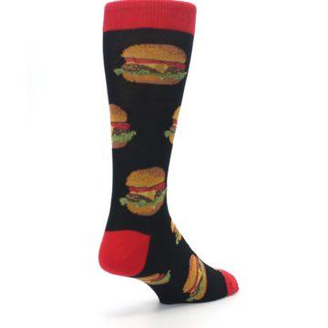 Image of Black Multi Cheese Burger Men's Dress Socks (side-1-back-21)