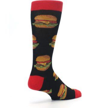 Image of Black Multi Cheese Burger Men's Dress Socks (side-1-back-22)
