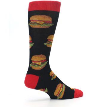 Image of Black Multi Cheese Burger Men's Dress Socks (side-1-23)