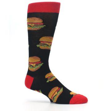 Image of Black Multi Cheese Burger Men's Dress Socks (side-1-25)