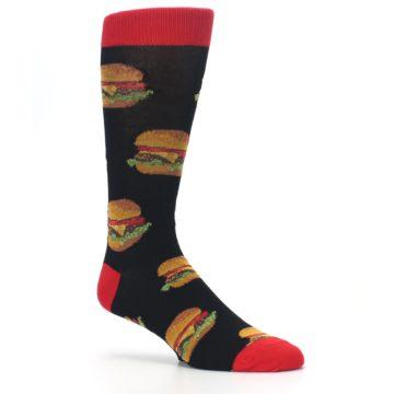 Image of Black Multi Cheese Burger Men's Dress Socks (side-1-26)