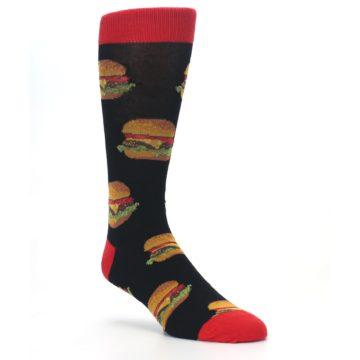 Image of Black Multi Cheese Burger Men's Dress Socks (side-1-27)