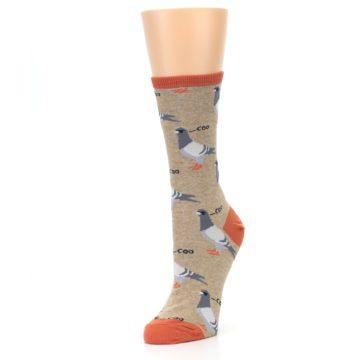 Image of Beige Dats Coo Pigeon Bird Women's Dress Socks (side-2-front-08)