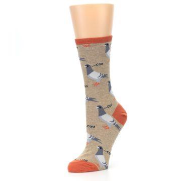 Image of Beige Dats Coo Pigeon Bird Women's Dress Socks (side-2-09)