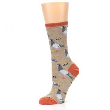 Image of Beige Dats Coo Pigeon Bird Women's Dress Socks (side-2-10)