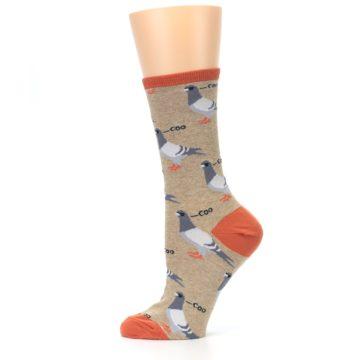 Image of Beige Dats Coo Pigeon Bird Women's Dress Socks (side-2-12)