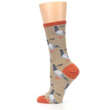 Image of Beige Dats Coo Pigeon Bird Women's Dress Socks (side-2-13)